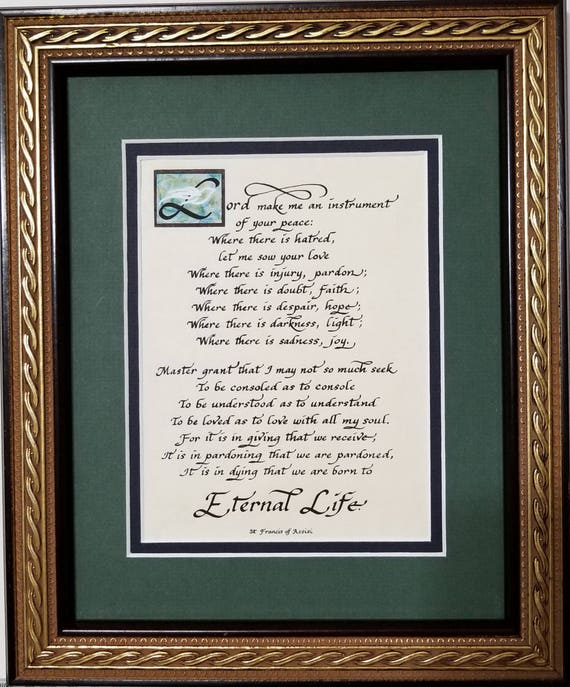 Prayer of St. Francis Lord make me an instrument of your peace framed calligraphy print with black and gold rope design frame
