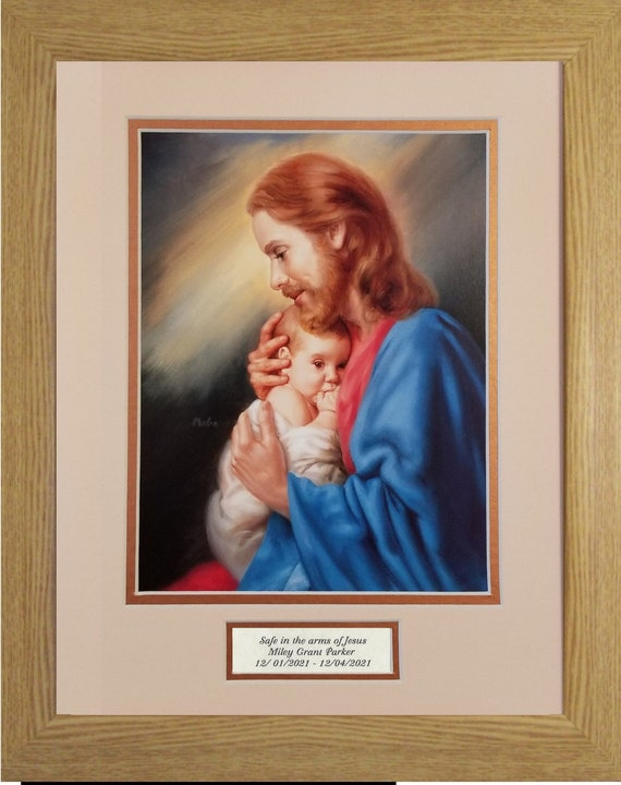 Safe in the arms of Jesus Sympathy picture with scripture verse for infant matted and framed with option to personalize with name and date