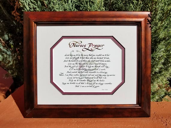 Nurses Prayer Framed and Matted Picture for graduation or any occasion with marble rust colored Frame