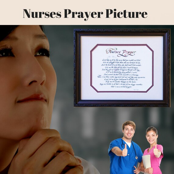 Nurses Prayer print Framed and Matted for graduation or any occasion with Burgundy Beaded Frame