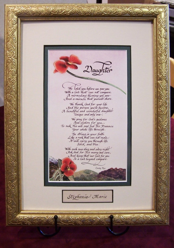 Poem for daughter from single parent or from both parents matted and framed with personalization, daughter graduation gift fom mom and dad
