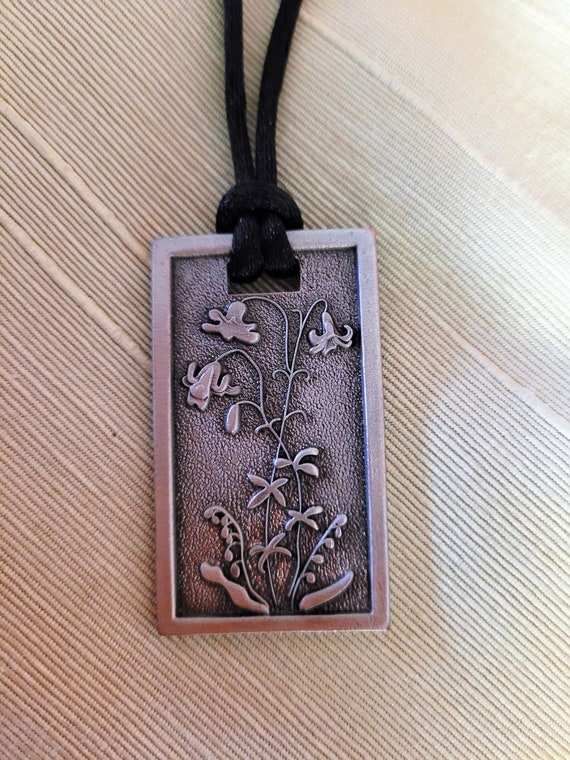 Lilies of the field silver vertical pendant necklace Matthew 6 33