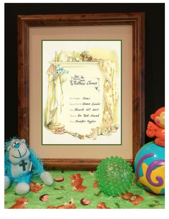 Victorian Birth Certificate Heirloom for Baby Girl or Baby Boy with hand lettered calligraphy framed and matted under glass ready to hang