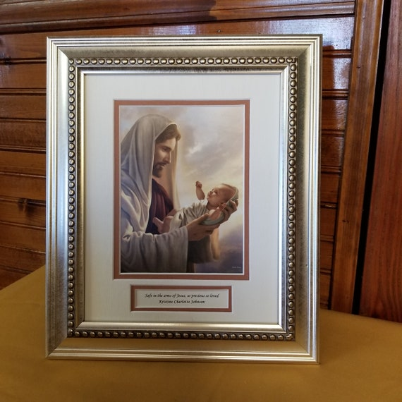 Safe in the arms of Jesus print Framed and matted personalized memorial keepsake picture for baby and child reflects the love of Jesus.