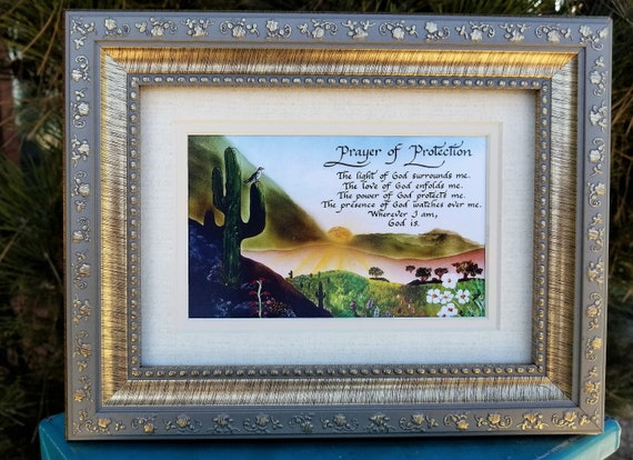 Prayer of Protection inspirational calligraphy print framed and matted desktop size for friend, hope, grief or encouragement
