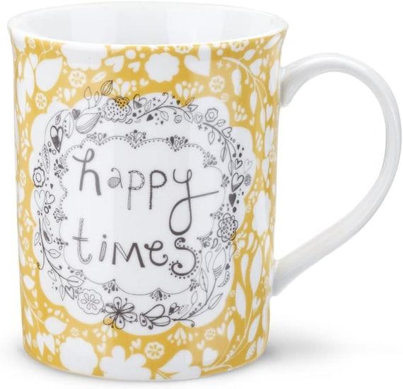 Happy Times Coffee Mug Hot Chocolate Mug Friendship Mug Demdaco Studio Rachael Taylor Happy Times Porcelain Coffee Tea Cup Mug