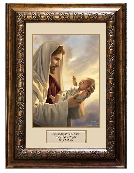Safe in the arms of Jesus print Framed and matted personalized memorial keepsake picture for baby and child reflects the love of Jesus