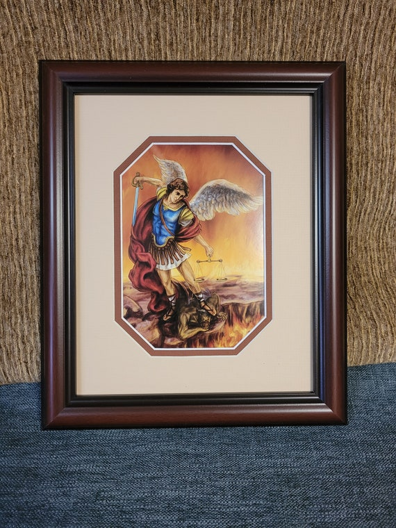 St Michael the Archangel print framed and matted wall art with barn wood style rustic farm house frame smooth mahogany frame - Saint Michael