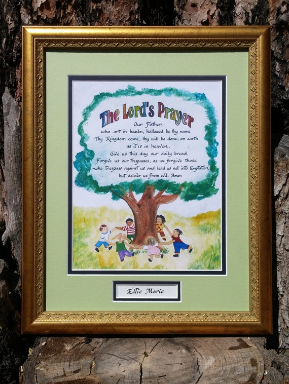 The Lords prayer for children calligraphy art picture personalized free with gold frame and green & black mats. Baptism, Birthday, Communion