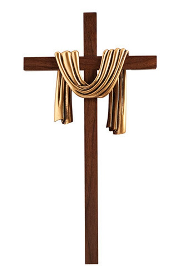 Lenten Easter wall Cross with Gold or Silver Robe design gift boxed with hook on back