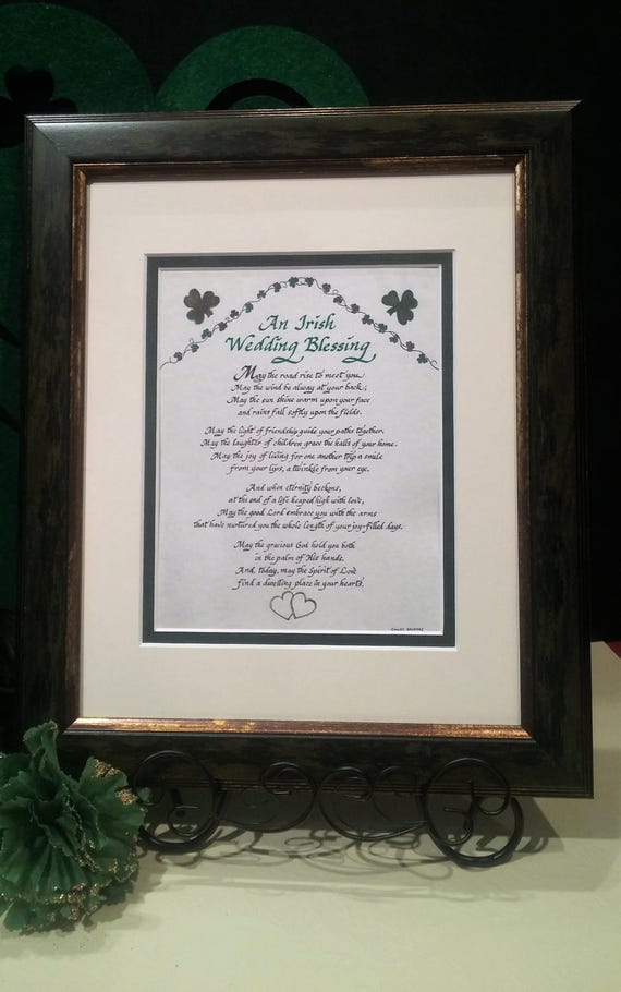 An Irish Wedding Blessing art and calligraphy gift with shamrocks and green hearts and option to personalize Green simulated weathered frame