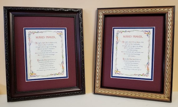 Personalized Nurses Prayer 8X10 double matted with dark burgundy beaded or burgundy with gold rope design frame.