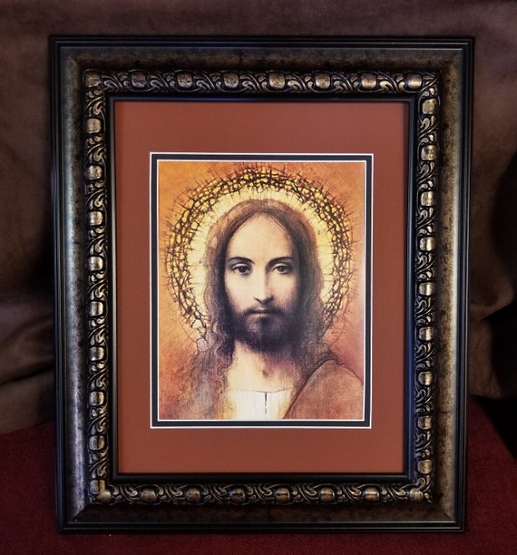 Face of Jesus Christ with crown and halo framed print wall Christian Wall décor for home, office, Pastor, friendship gift