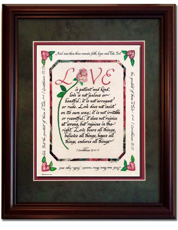 Love is Patient and Kind 1 Corinthians Bible verse framed and matted calligraphy scripture picture and wall decor with option to personalize
