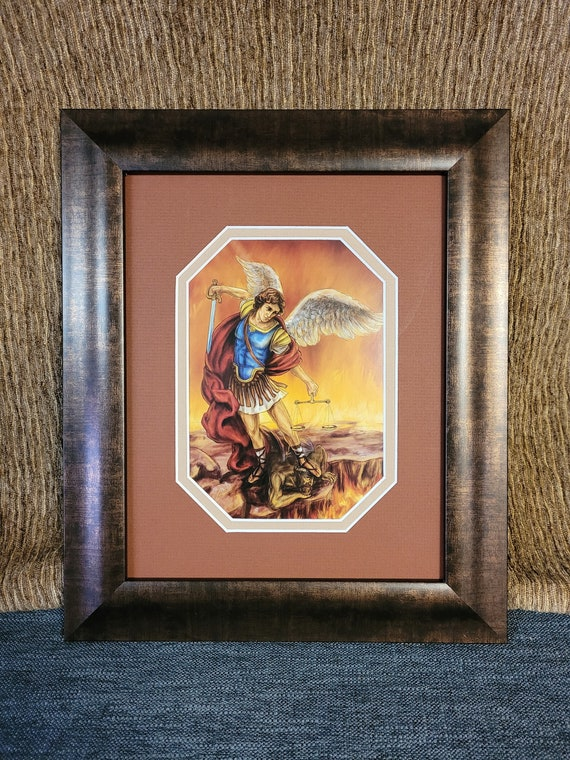 St Michael the Archangel print framed and matted wall decor
