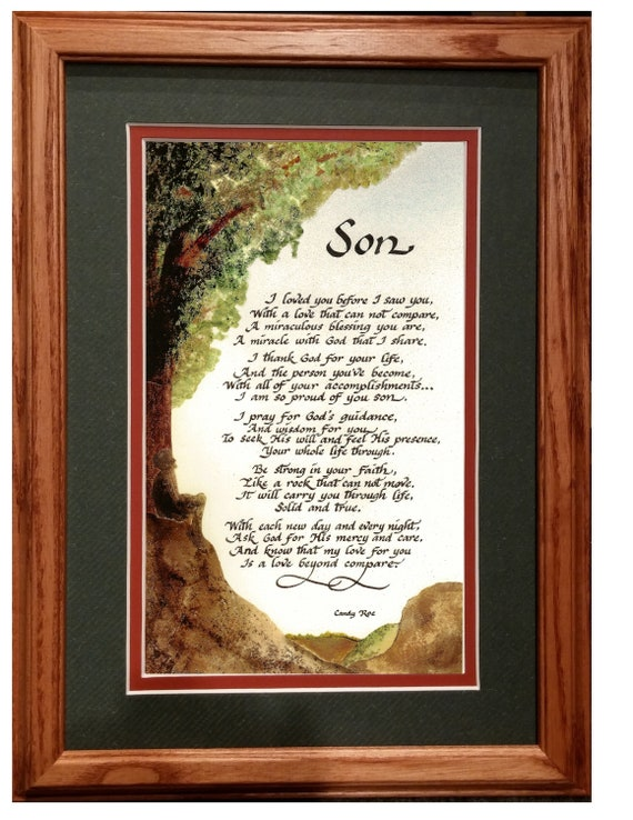 Son poem prayer from both parents or single parent in calligraphy matted and framed barnwood frame or oak frame personalized graduation gift