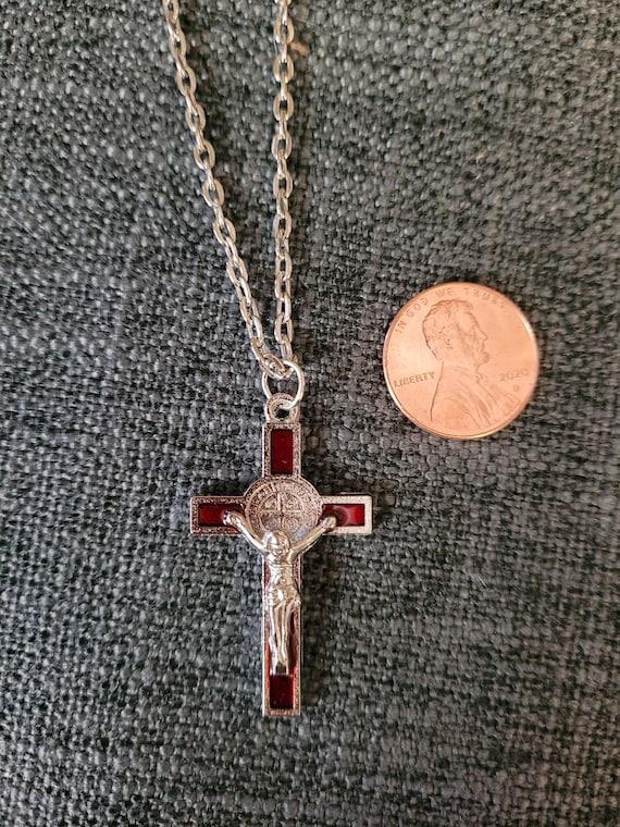 Saint Benedict Red Crucifix Pendant Cross Necklace