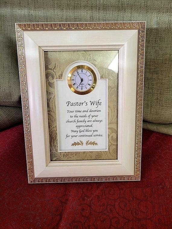 Pastor's Wife framed poem verse with clock gift desktop