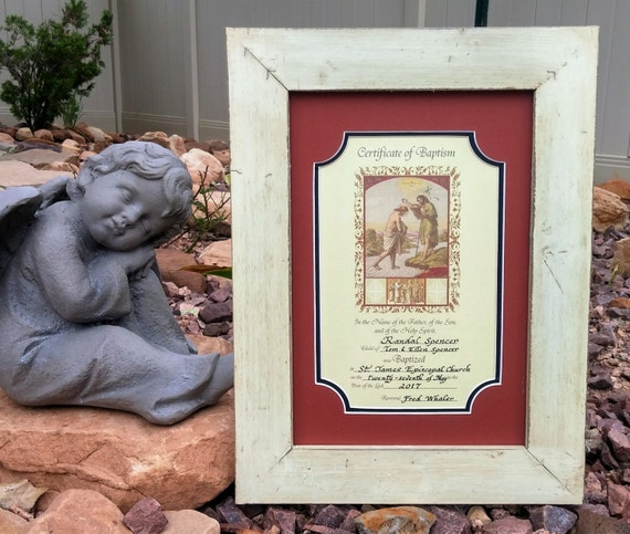 Baptism Adult Keepsake Certificate framed and matted personalized in calligraphy Gift and wall decor