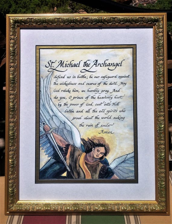 St. Michael the Archangel Defend us in battle framed calligraphy art print for Confirmation, RCIA, house warming, Father's Day and Birthday
