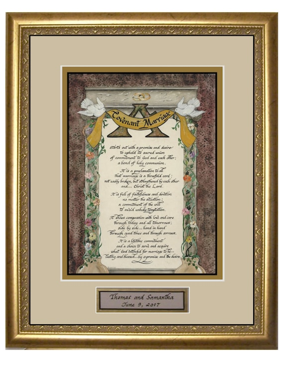 A Covenant Marriage Prayer calligraphy and art picture for Wedding or Anniversary matted and framed, gift for bride and groom personalized