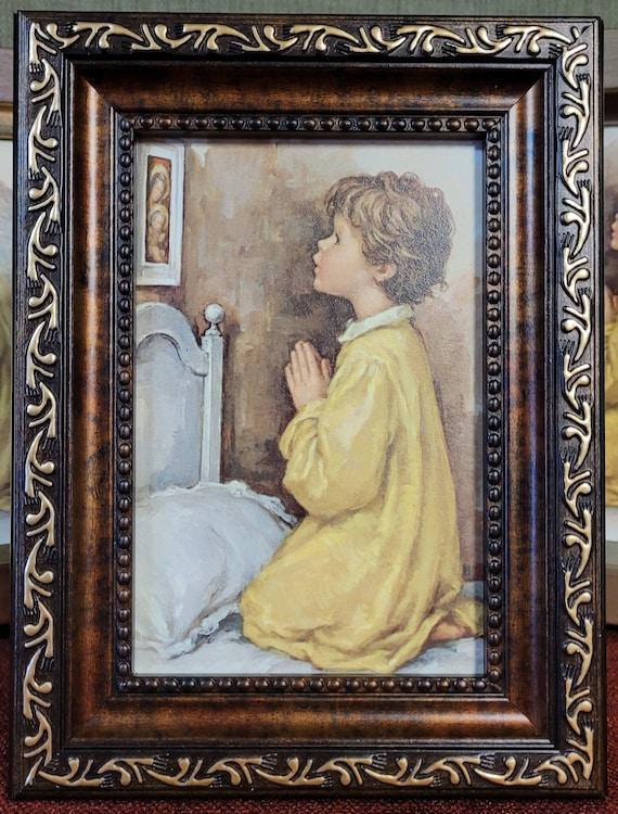 Praying boy framed picture for nightstand, shelf or dresser