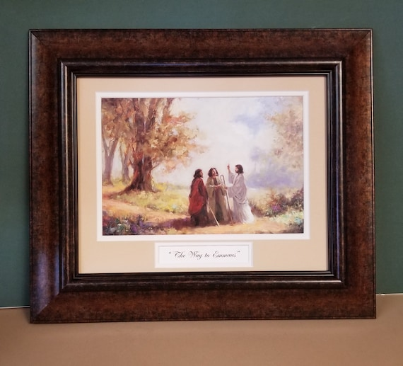 The Way to Emmaus framed and matted Christian Wall Décor Print for home, office and gift giving