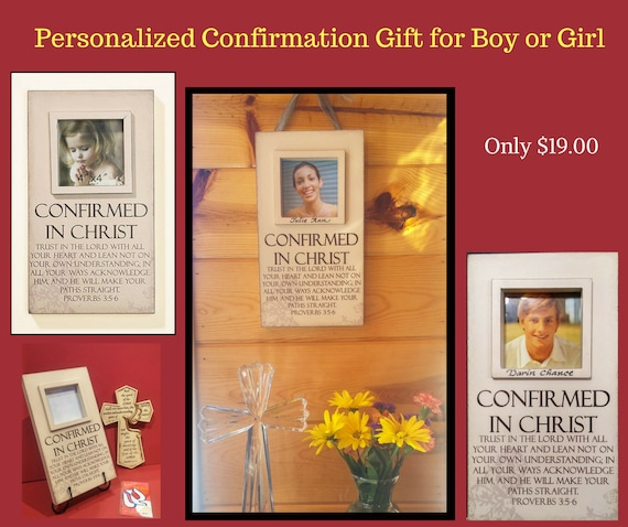 Confirmation personalized scripture picture gift with room for photo for boy or girl