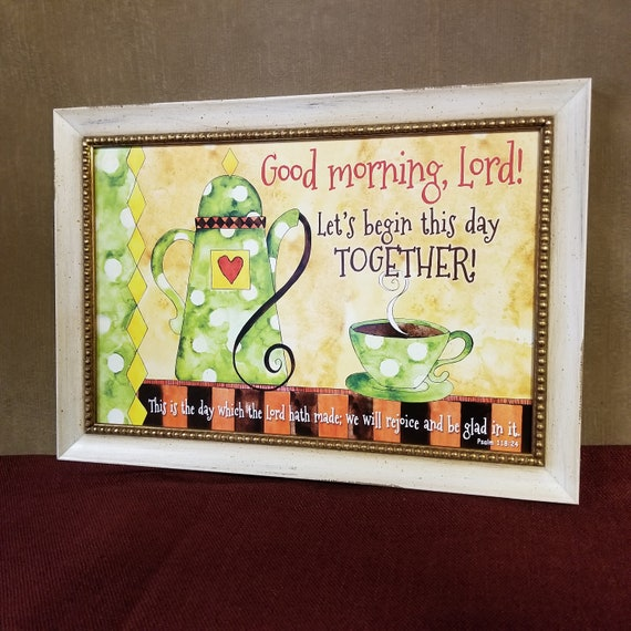 Good morning Lord framed kitchen art colorful café theme colorful Christian Wall Décor