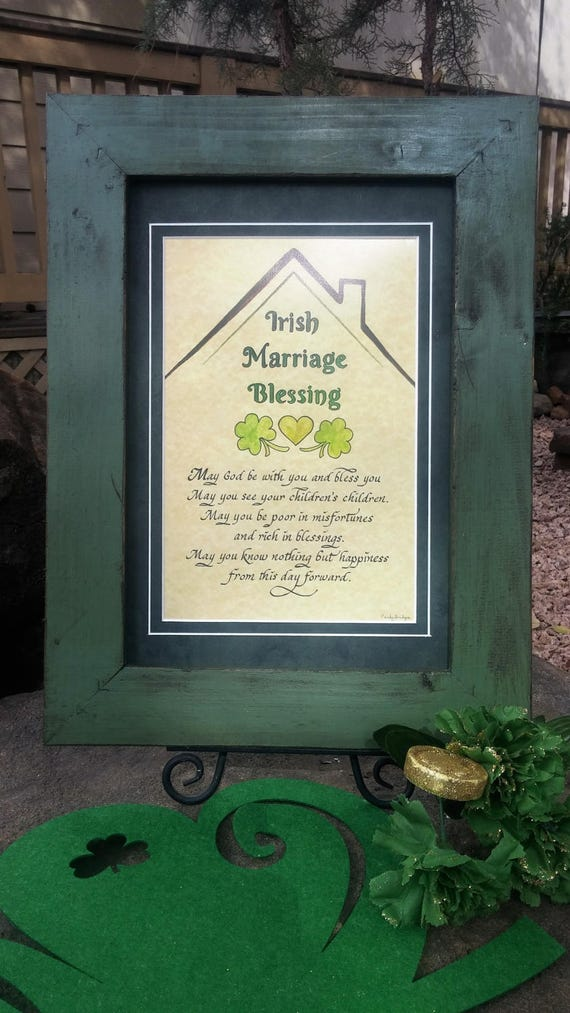 Irish Blessing Wedding Marriage Prayer for Bride and Groom with shamrocks and heart personalized and framed in rough barn wood style frame