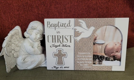 Personalized Baptized in Christ Photo frame for child, teen or adult