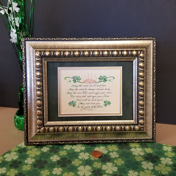 An Irish Blessing Mini calligraphy print May the road rise up to meet you framed and matted for St. Patrick's Day, Wedding or Anniversary