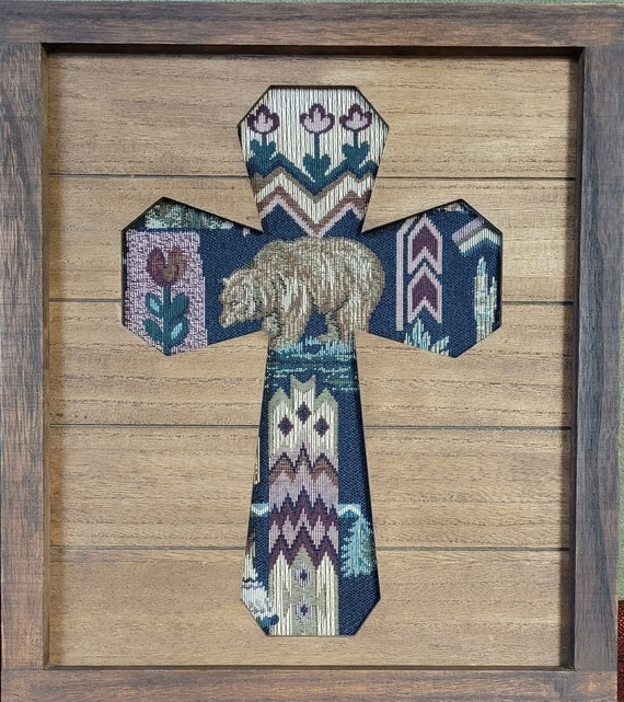 Wood Cross with tapestry bear southwest design wall art