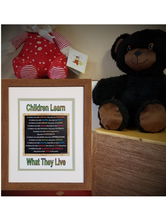 Children Learn What They Live Poem Quote by Dorothy Law Nolte Colorful Box sign for shelf, desk and counter