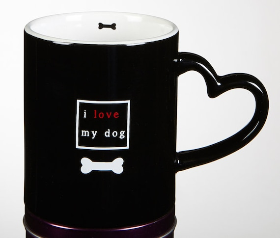 I love my dog mug I love my cat mug with heart handle in Black and Red cute Do and cat tea mug for friend and family
