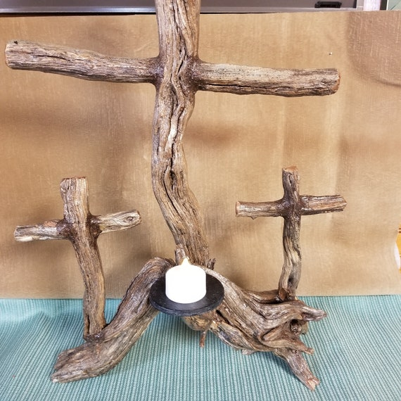 Handmade Beautiful Manzanita Cross Sculpture with Tea Lite Tabletop décor rustic