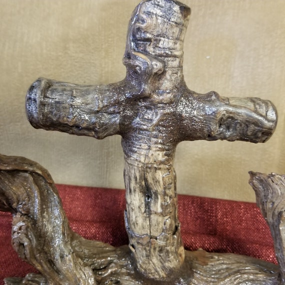 Beautiful Manzanita wood single Cross Sculpture for home, friend church, gift giving, Advent, Easter and Christmas