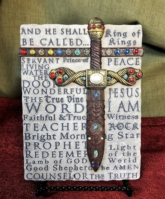 Names of Jesus Stone wall Décor with sword and colored accents