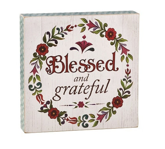 Jim Shore Blessed and Grateful Box sign