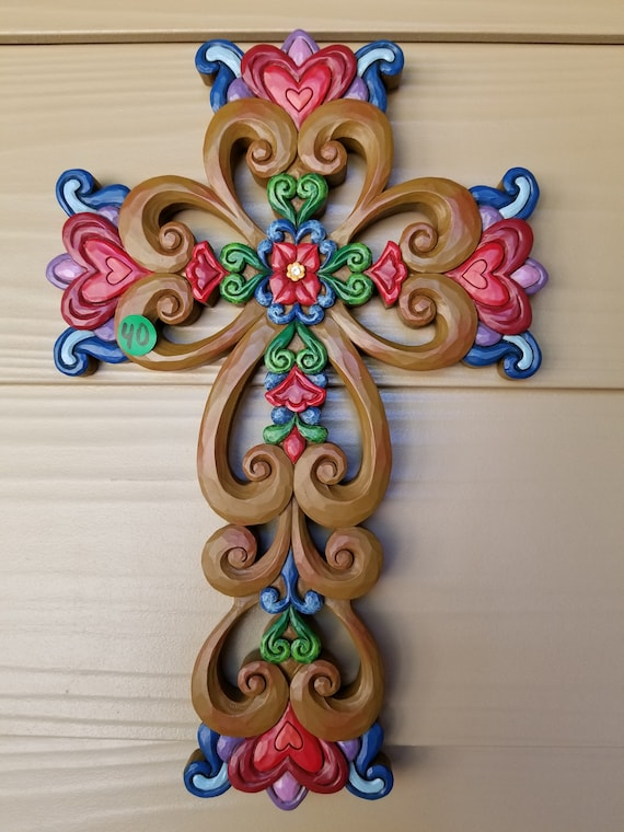 Faith Family and Friends Wall Cross with jewel in the middle for home, friendship and holidays. Cross for Friend and family Jim Shore