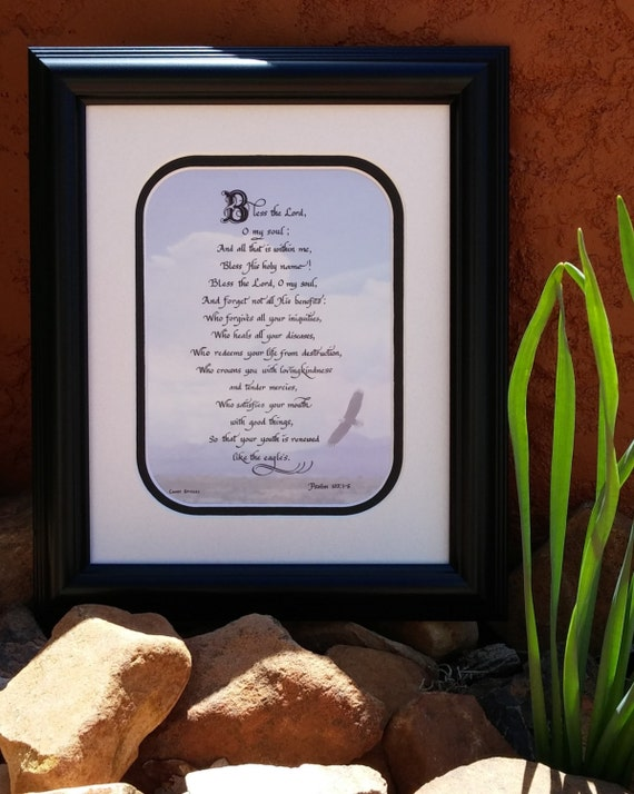 Bless the Lord O My Soul Psalm 103 Calligraphy verse matted and framed calligraphy gift