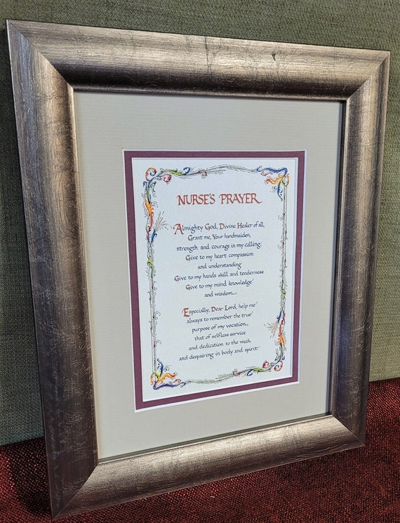 Nurses Prayer verse with Personalization double matted and framed