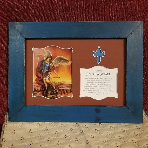 St. Michael the Archangel print with Saint Michael prayer framed and matted wall art with barn wood rustic farm house frame