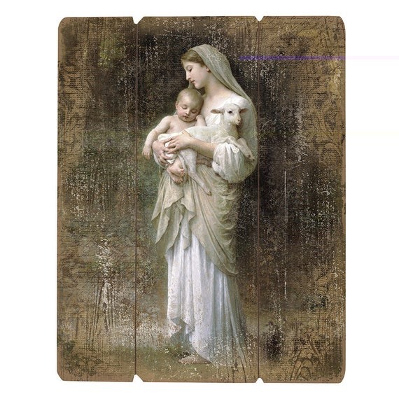 Blessed Mother Mary with Jesus Catholic images L' Innocence pallet sign art for church, housewarmings, dorm rooms and more