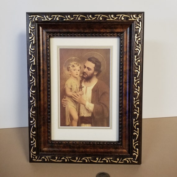 St. Joseph and the child Jesus mini framed desktop picture