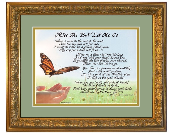 Framed Memorial Grief Sympathy Gift for friend or family miss me but let me go with option to personlize with loved ones name