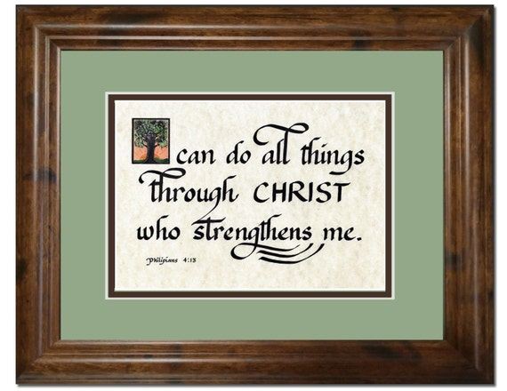 I can do all things through Christ who strengthens me calligraphy verse scripture framed and matted Bible print from Philippians 4:13