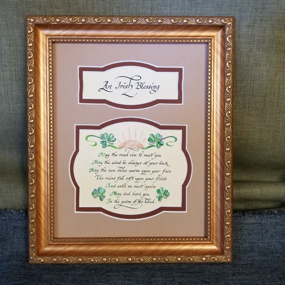 An Irish Blessing May the road rise up to meet you may the wind always be at your back framed Irish print
