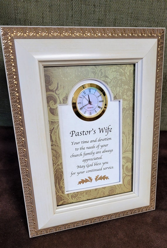 Pastor's Wife framed verse with clock Framed 6 x 8-Inches