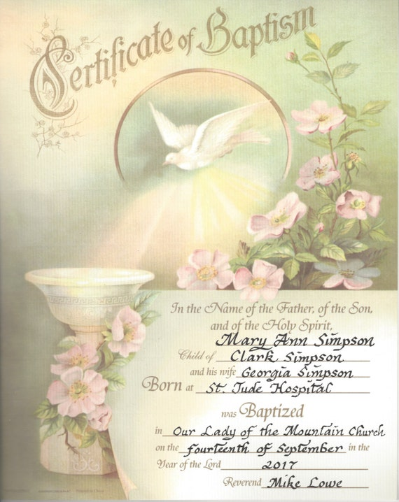 Baptism Vintage Certificate print with Holy Spirit Dove, personalized in calligraphy.